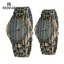 REDEAR Lovers klockor Bule Bamboo Wood Watch Bamboo Band för Quartz Watches som gåva acceptera OEM Dropshipping