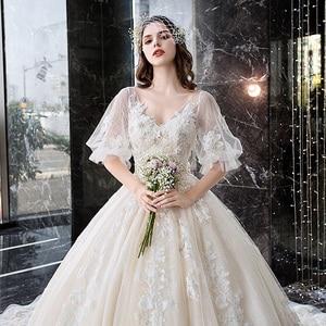Image 5 - Wedding Dress For Pregnant Woman Vintage V Neck Robe Mariee Princesse Embroidery Applique Pattern Boho Chic Wedding Dress TS869