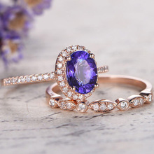 Huitan Trendy 2PC Ring Band For Women With Noble Blue Purple Mixed Cubic Zircon Prong Setting Rose Gold Color Romantic