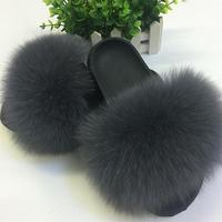 여우 머리 슬리퍼 여성 모피 홈 무성한 슬라이더 봉제 모피 여름 플랫 달콤한 여성 신발 큰 크기 44 뜨거운 판매