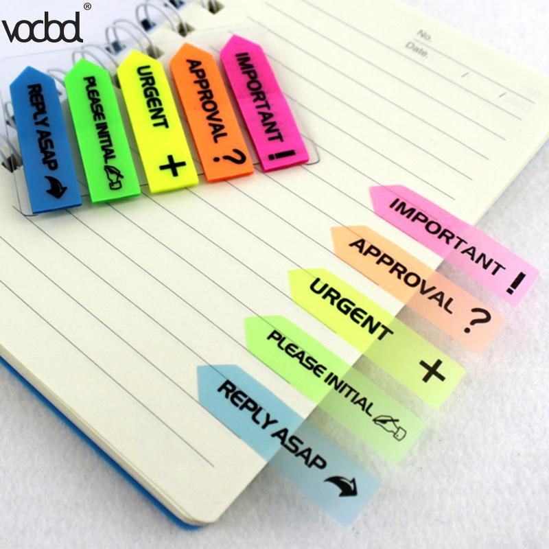 VODOOL Fluorescence Color Self Adhesive Memo Pad Sticky Notes Bookmark Point It Marker Memo Sticker Paper Office School Supplies 2018 pet transparent sticky notes and memo pad self adhesiv memo pad colored post sticker papelaria office school supplies