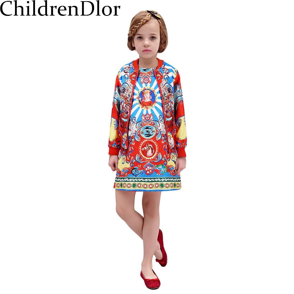 L.mosnoon Girls Clothing Sets Coat Dress 2017 Winter
