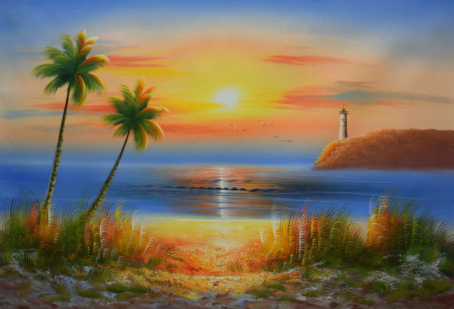 Hand Painted Oil Painting On Canvas Modern Wall Picture Morning Sunrise Seascape Art Pictures