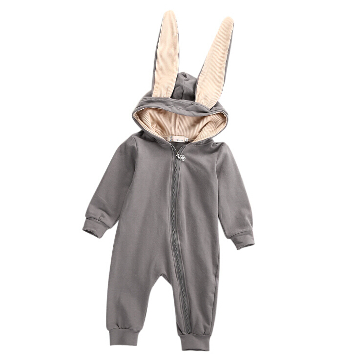 Newborn Baby Girls Boys Clothing 3D Ear Romper Cotton Long Sleeve Jumpsuit Playsuit Bunny Outfits One piecer Clothes hurave infant clothing color stripes cotton knit long sleeve jumpsuit velvet baby romper new born baby boys and girls clothes