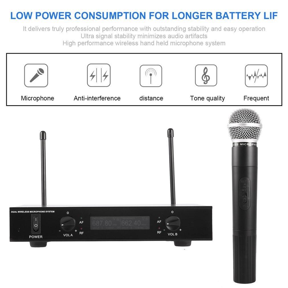 Karaoké professionnel UHF double système de Microphone sans fil 2 canaux 220V micro à main Microphone avec récepteur pour fête KTV