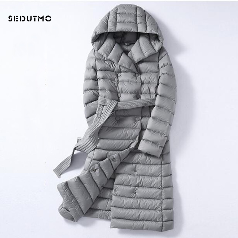 SEDUTMO 2018 Winter Plus Size 3XL Long Womens   Down   Jackets Ultra Light Duck   Down     Coat   Hoodie Autumn Puffer Jacket ED226