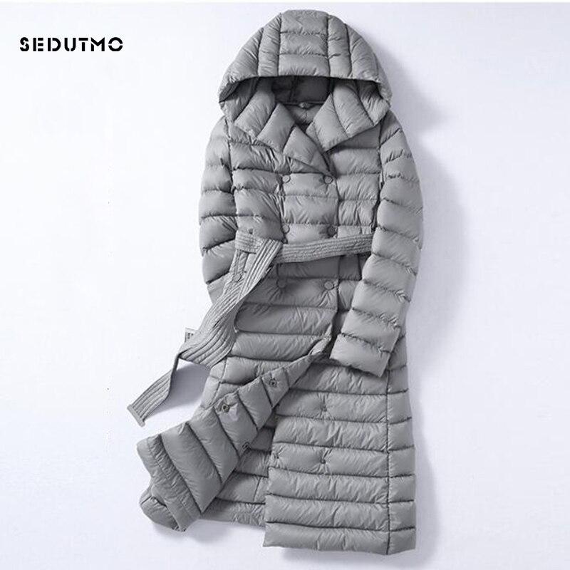 Sedutmo 2018 зима плюс Размеры 3XL длинные женские пуховики ультра легкий утка вниз пальто с капюшоном осень пуховик ED226