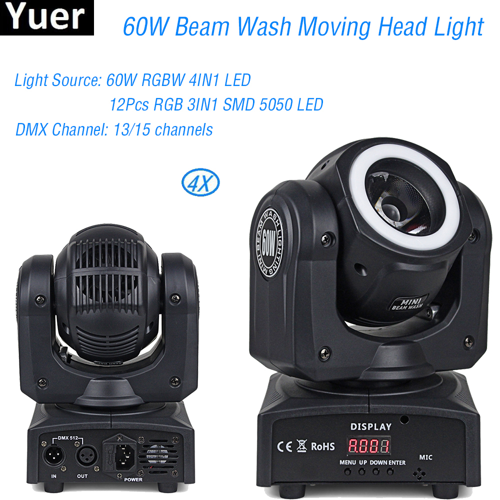4Pcs/Lot 2019 NEW RGBW 4IN1 60W Beam With Strips Wash Moving Head Light For Disco DJ Christmas Party Stage Lights4Pcs/Lot 2019 NEW RGBW 4IN1 60W Beam With Strips Wash Moving Head Light For Disco DJ Christmas Party Stage Lights