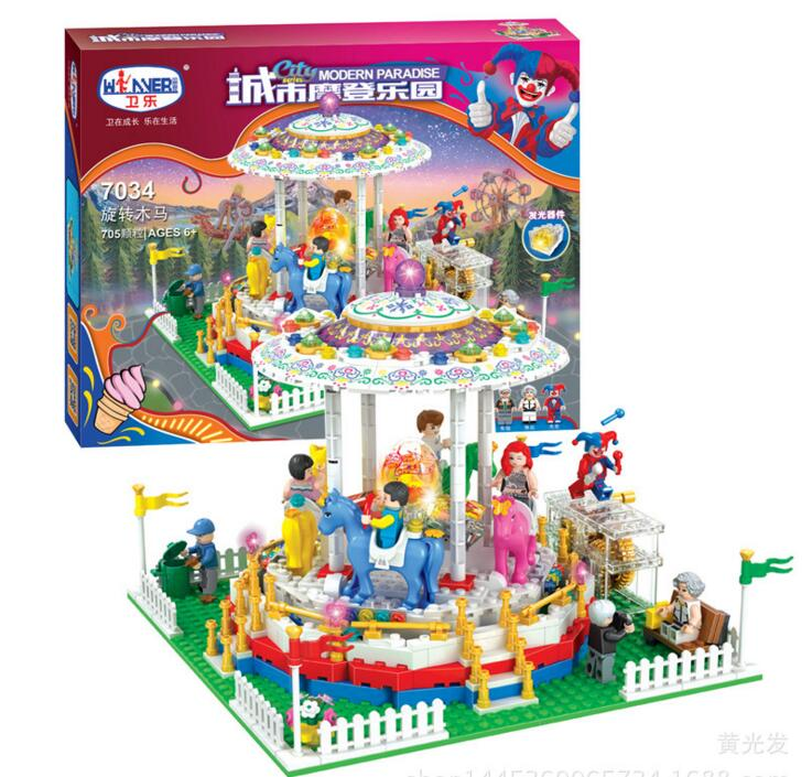new 7034 Friends series the City Park Cafe Carousel Model Building Block Classic girl toys Compatible with lepin lepin 22001 pirate ship imperial warships model building block briks toys gift 1717pcs compatible legoed 10210