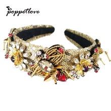 Vintage Baroque Hand sewn sequins Tiara Gold Bee Crown Retro Rhinestone Hairbands Bridal Wedding Hair Accessories Jewelry
