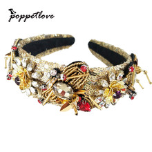 Vintage Baroque Hand-sewn sequins Tiara Gold Bee Crown Retro Rhinestone Hairbands Bridal Wedding Hair Accessories Jewelry