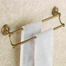 Bathroom Double Towel Rail Rack Antique Brass Wall Mounted Towel Shelf Bath Rails Bars Holder KD632 недорго, оригинальная цена