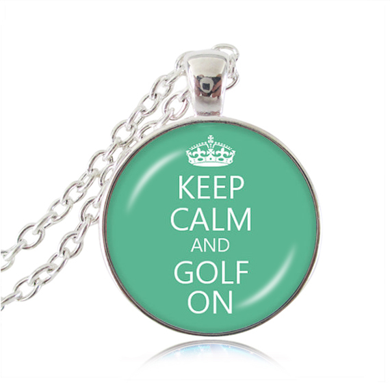 Keep Calm necklace keep calm and Golf On quote pendant glass cabochon jewelry letter choker necklaces women necklace wholesale