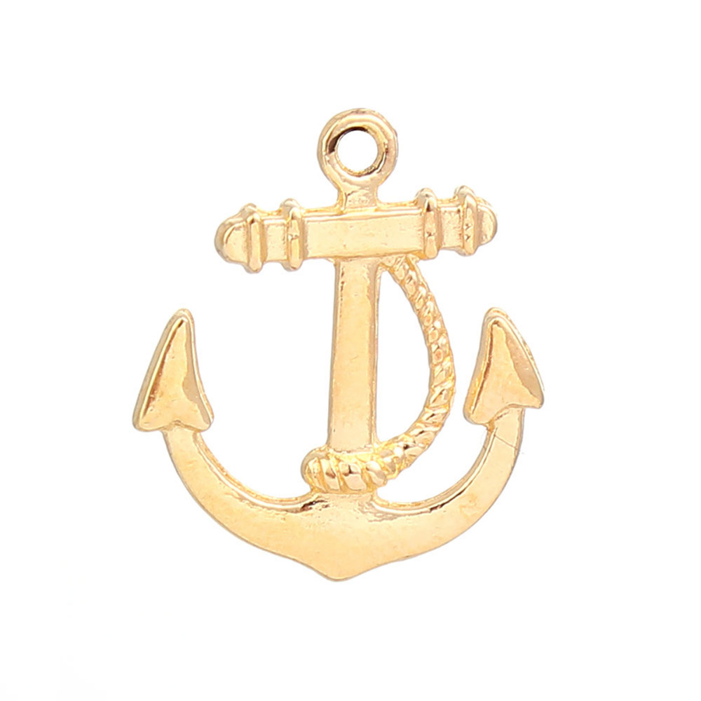 DoreenBeads Zinc Based Alloy Gold Color Charms Anchor Fashion DIY Pendants Components Findings 23mm( 7/8) x 20mm( 6/8), 50 PCs