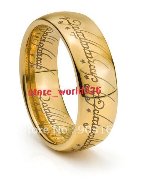 Wholesale Popular hot sell GUARANTEED 100% New 6MM TUNGSTEN LORD RINGS RARE LOTR 18K GOLD BAND FREE SHIPPING