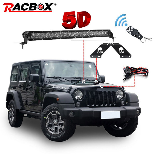 RACBOX 20 inch 100W Single Row 8000LM Off Road 5D LED Light Bar with Hood Mounting Bracket Skull Style Kit For Jeep Wrangler JK