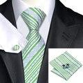 FA-630 Mens Tie Listra Verde 100% Jacquard de Seda Gravata Lenço Abotoaduras Set Wedding Party Negócios Laços Para Homens Frete Grátis