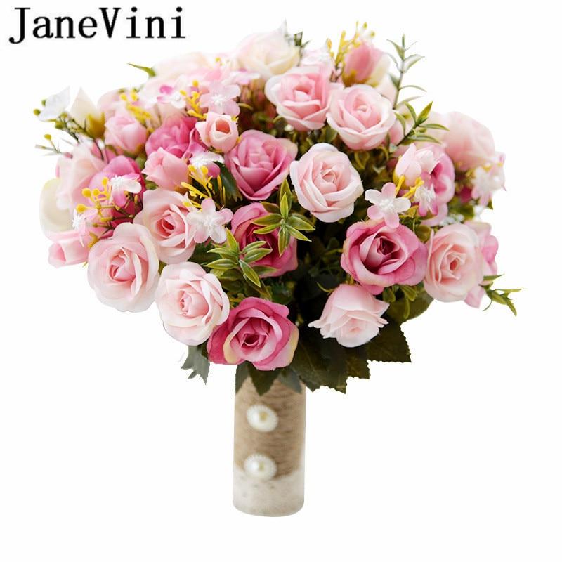JaneVini 2018 Flores Artificiales Silk Bridal Flower Bouquet Artificial Flower Wedding Bridesmaid Bouquete Corsage Fleur Mariage