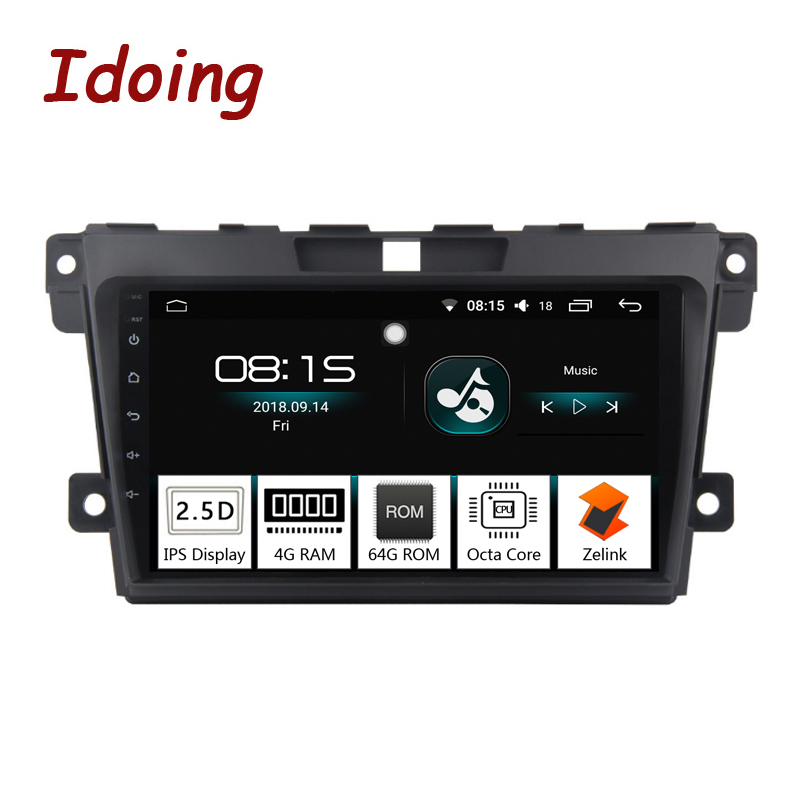 Idoing 1Din 2.5D IPS Screen Car Android8.0 Radio Vedio Multimedia Player Fit Mazda CX-7 CX 7 CX7 4G+64G GPS Navigation Fast Boot fit 36 28 7