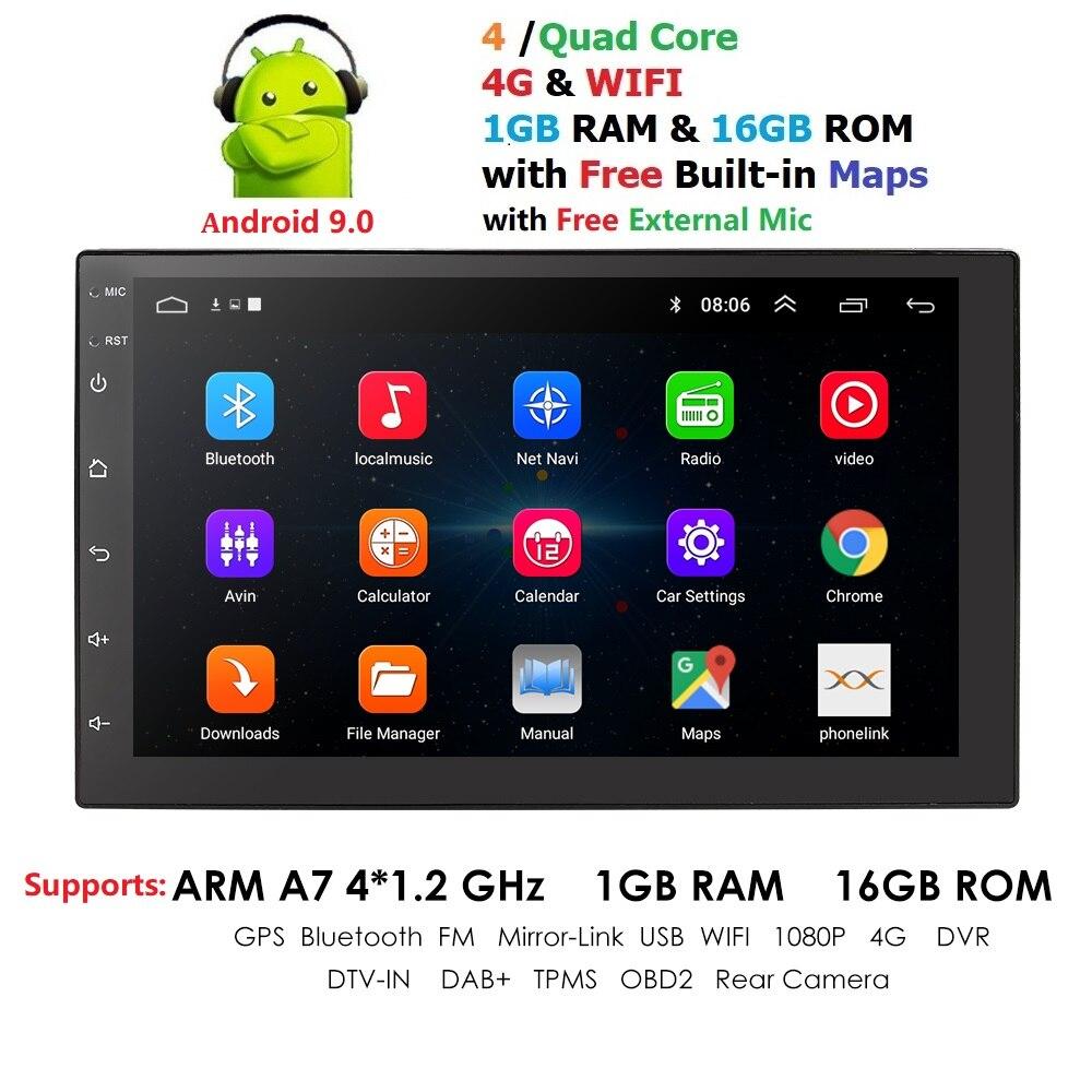 Universal 2 Reprodutor multimídia Carro din Android 9.0 Quad Core GPS Wifi BT Rádio 4G SIM Rede 1024*600 SWC Mapa Navi DAB USB Mic