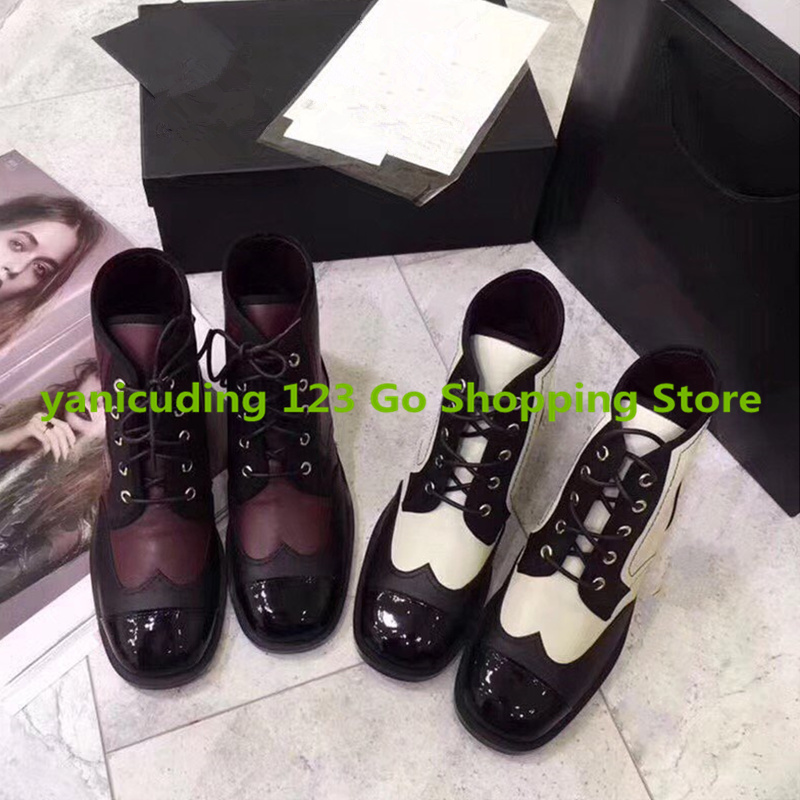 Mixed Color Women Short Booties Front Lace Up Mid-calf Boots Low Heel Black White Shoes Luxury Brand Super Star Lady Runway Shoe miquinha round toe women boots mixed color short booties luxury brand women cool runway fashion star high heel boots buckle shoe