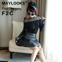 Maylooks Genuine Leather Skirts Fashion Solid Design Women Skirt Sheepskin Lady Mini Skirt Sexy Girl Pleated Saias Clothes LE003