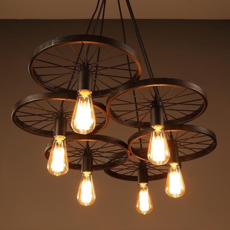 Courrier gratuit américain Vintage roue loft pendentif lumière personnalité créative lumières industrielles Edison ampoule lampe pour salon