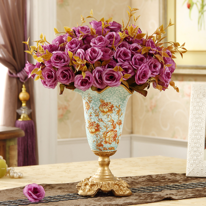Wedding Gift Vase: 28cm Height European Retro Palace Vase Living Room
