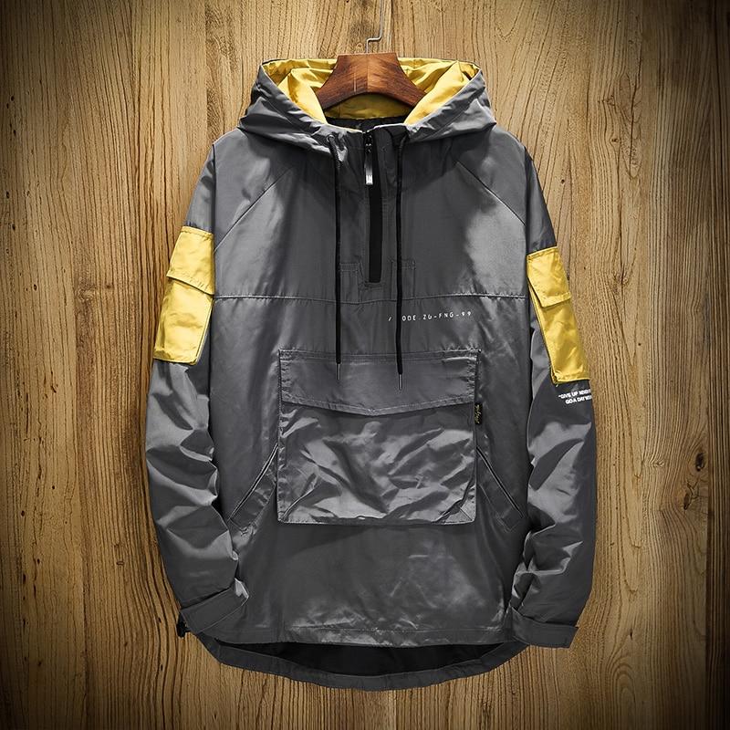 Men's Bomber Jacket Teen Top Jackets for Men Streetwear Coat Mens Jackets and Coats Autumn Patchwork Large Pocket Hooded Jacket