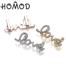 Hight Quality Gold Silver Color Love Shaped Full Crystal Charm Fits Mesh Stainless Steel Bracelet Brand Bracelets Slide Charms new design 2019 hot silver mesh keeper bracelet with heart anchor slide charms stainless steel brand bracelets for women