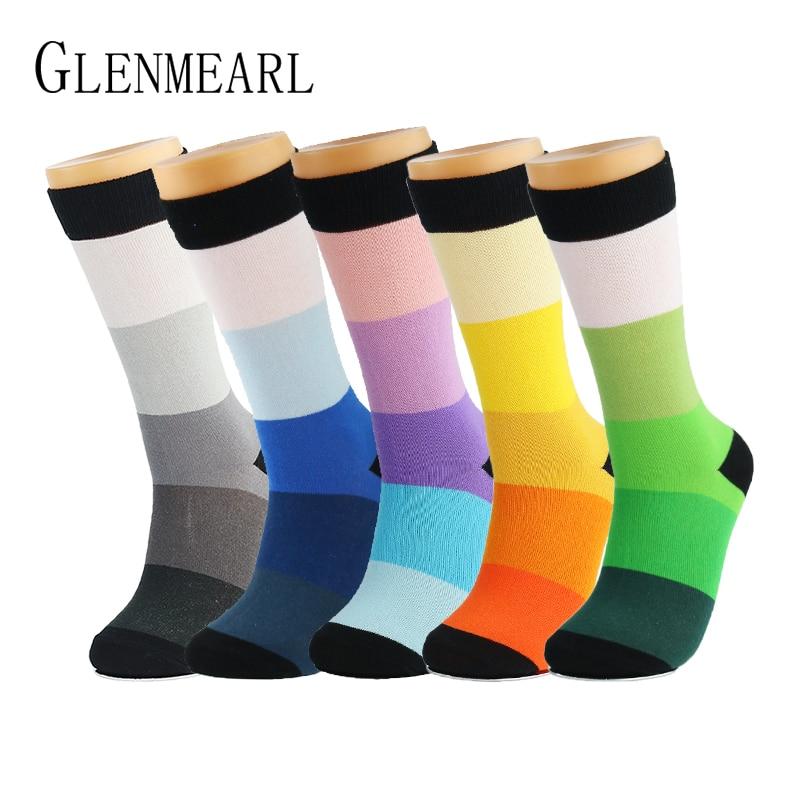 5 párů / hodně bavlněných pánských ponožek kvalitní značka jaro podzim obchodní komprese Coolmax legrační pruhované barevné šťastné šaty mužské ponožky