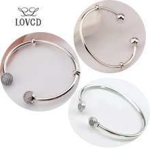 Authentic 925 Sterling Silver Opening Bangles Classic Double-Headed Bracelet & Bangle for Women Charm Beads 170089