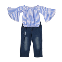 ФОТО 2PCS Children Outfit Clothes Kids Baby Girl Off Shoulder Cotton Ruffled Sleeve Tops Striped T-shirt Blue Denim Jeans Sunsuit Set