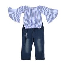 2PCS Children Outfit Clothes Kids Baby Girl Off Shoulder Cotton Ruffled Sleeve Tops Striped T-shirt Blue Denim Jeans Sunsuit Set