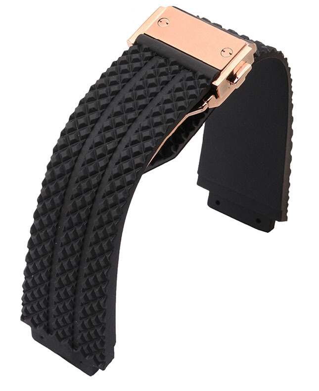 26mm High Quality Black Rubber Watch Band Strap Rose Gold Deployment Buckle CLASP For BRAND Free