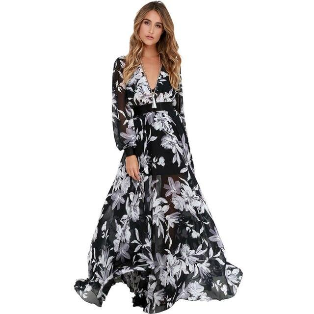 41409e7155a8 QL336 Sexy Deep V-Neck Long-Sleeve Waist Belt Chiffon Tropical Print Maxi  Dress NTSMSS