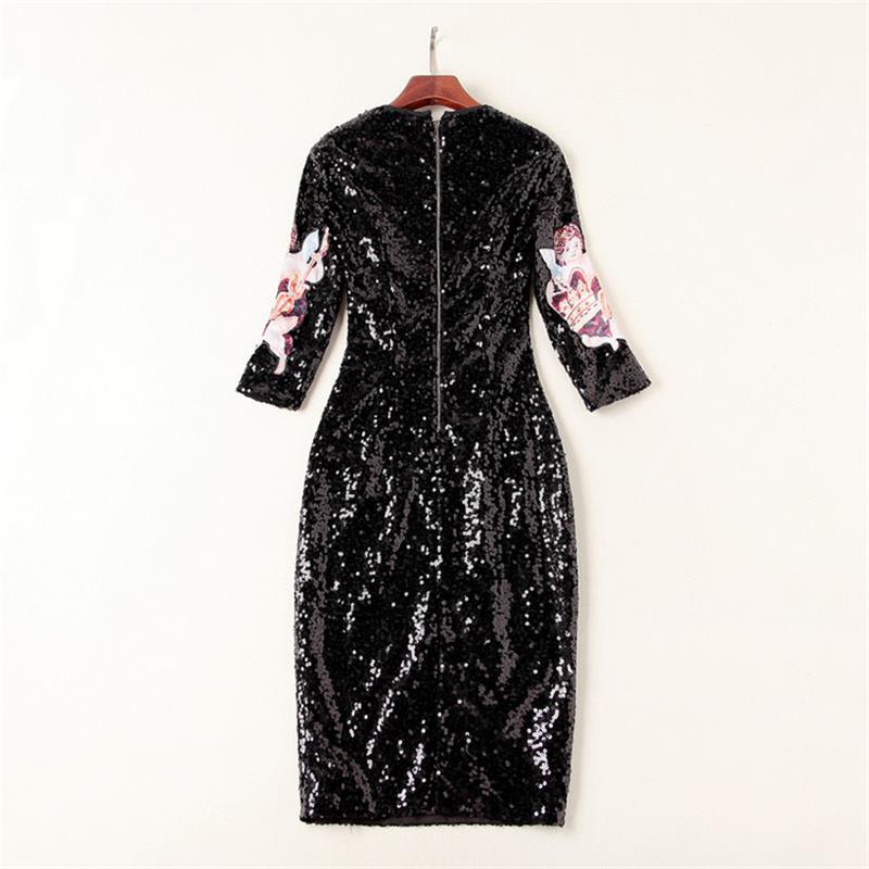 Designer Haute Robe Quarts Femmes Dx0008n Manches cou De Robes Lady Trois 2018 Paillettes Qualité Piste O qvRXFtRx