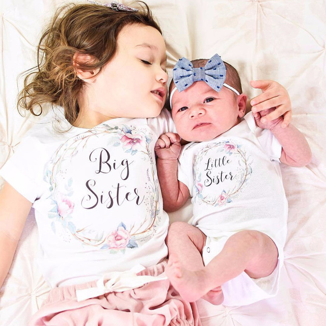 f316fb332144 Summer Cotton Cute Baby Girl Big Sister Tops Little Brother Sister ...