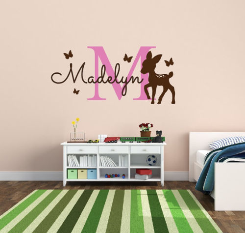 G271 Personalized monogram name <font><b>decal</b></font> with deer vinyl wall sticker <font><b>for</b></font> nursery decor Decorative art of infant wall stickers