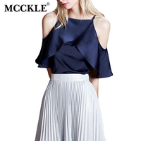 MCCKLE 2017 Women Blouse Shirt Summer Vogue Blue White Shirt Off Shoulder Ruffles Female Tops Sexy