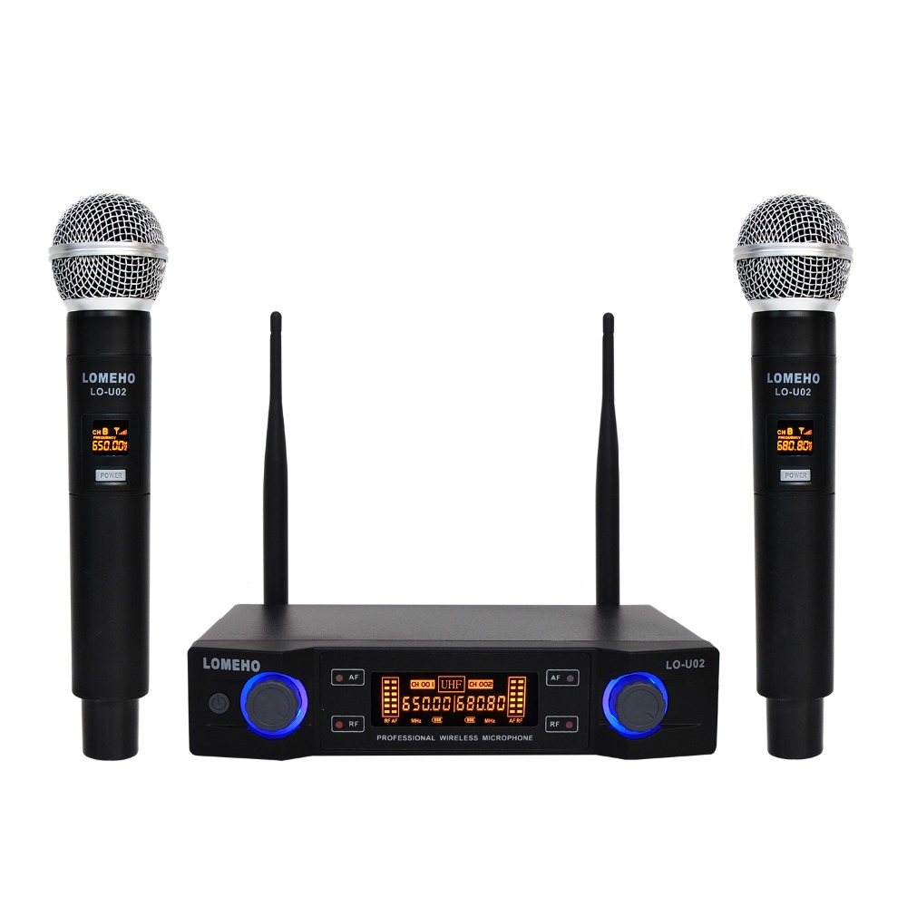 Lomeho LO-U02 2 Handheld UHF Frequencies Dynamic Capsule 2 channels Wireless Microphone for Karaoke System(China)