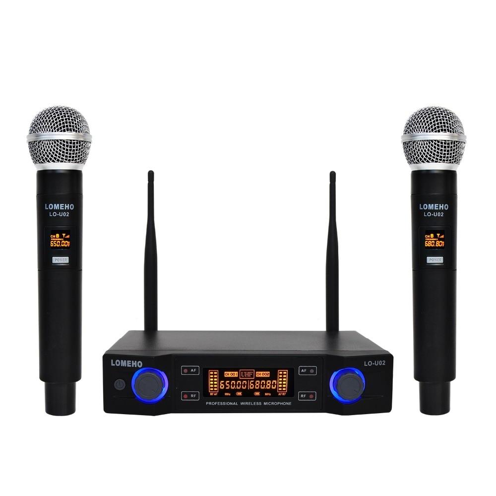 Lomeho LO-U02 2 ручные UHF частоты динамическая капсула 2 канала беспроводной микрофон для караоке системы