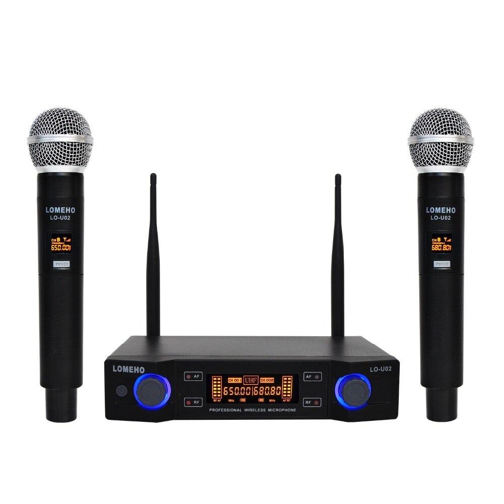 Lomeho LO-U02 2 cápsulas dinámicas de frecuencia UHF de mano 2 canales micrófono inalámbrico para sistema de Karaoke