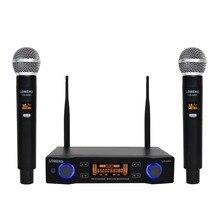 Lomeho LO U02 2 handheld freqüência uhf cápsula dinâmica 2 canais microfone sem fio para karaoke sistema