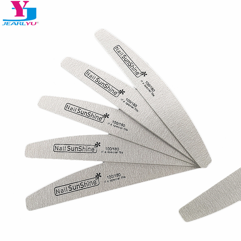 5pcs/lot Professional Nail File Sanding Wood Slim Crescent 100/180 Grit Nail Sunshine Polish Makeup Tools Women Salon Manicure