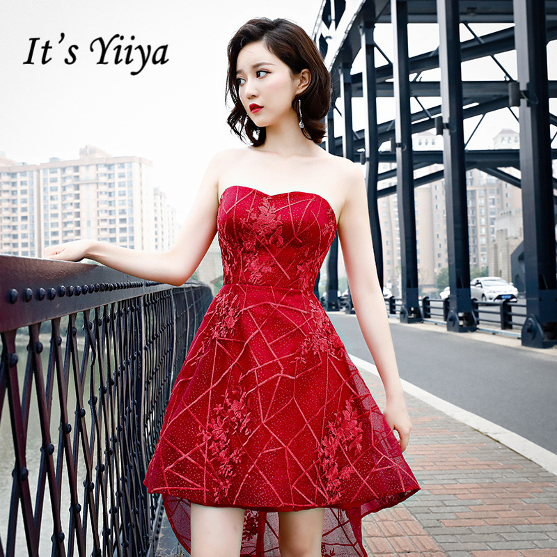It's YiiYa Cocktail Dresses Sexy Strapless Embroidery Illusion Party Gowns Wine Red High Low Length Lace Up Formal Dress E381