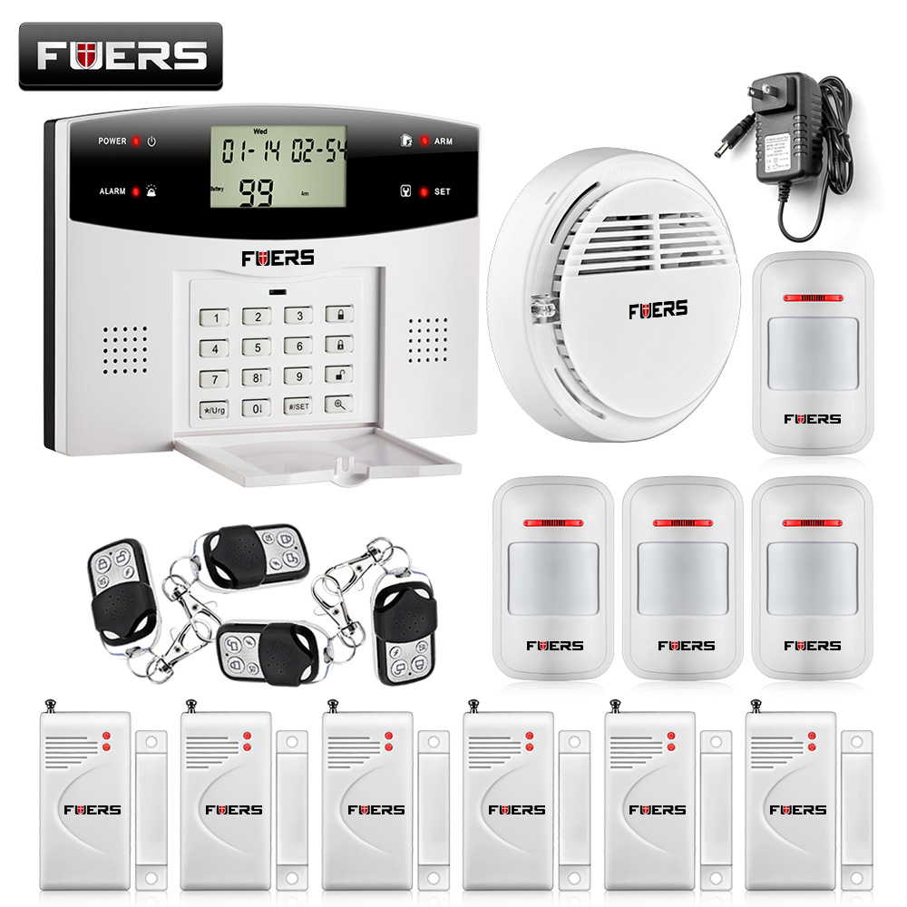 433MHZ dual-network GSM PSTN SMS House Burglar Security Alarm System fire/smoke Detector+door/window Sensor Kit Remote Control 433mhz dual network gsm pstn sms house burglar security alarm system fire smoke detector door window sensor kit remote control