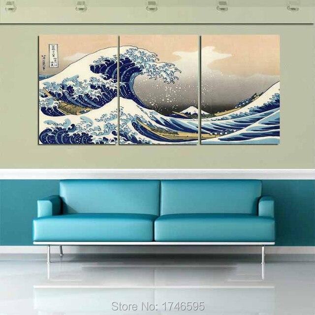 big size modern home decor wall art picture great wave off kanagawa