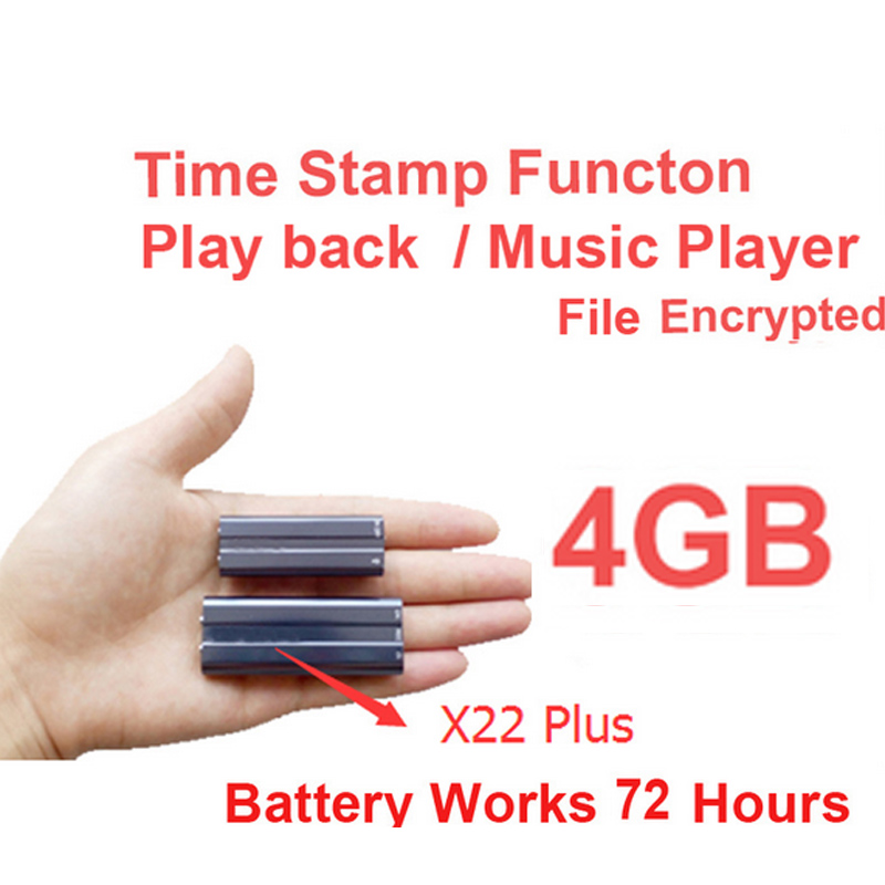 x22 4GB MP3 player file encryption memory disk battery 40Hour audio recorder time stamp voice recorder