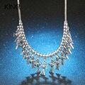 Kinel caliente moda vintage joyería azul cruz colgantes collares largos inlay cristal gema joyería de las mujeres de regalo de navidad
